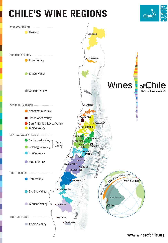 Chilean Wine Update - Chile regions map